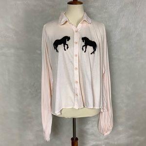 Wildfox Balloon Sleeve Pony Express Bonnie Top